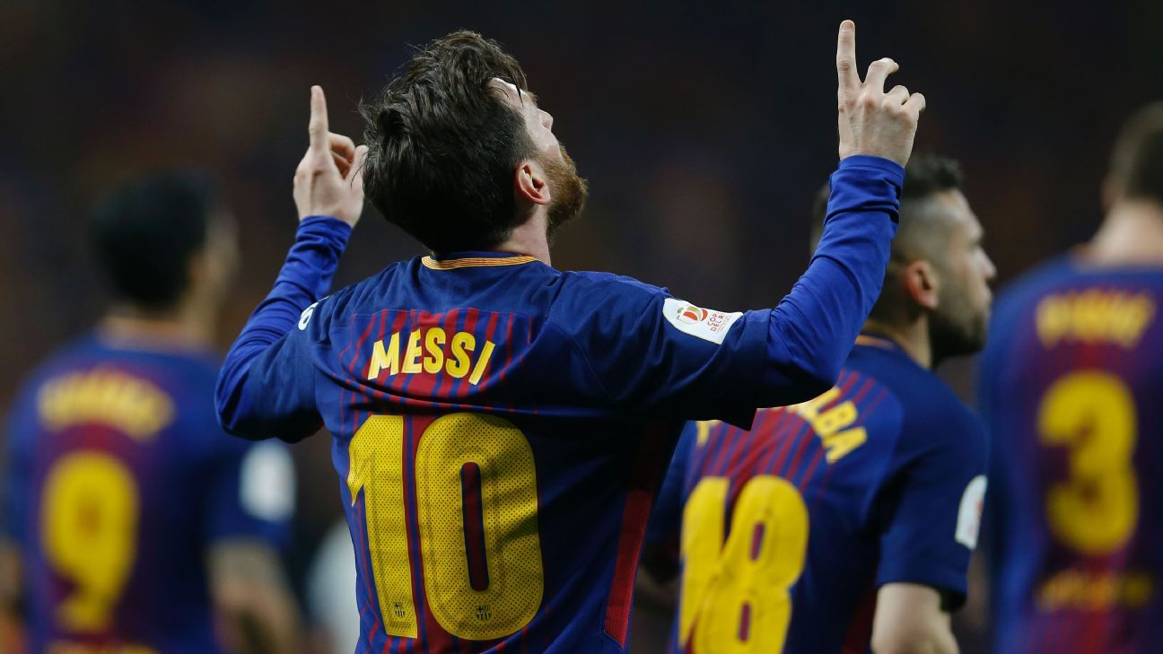 Lionel Messi celebrates after scoring a goal against Sevilla in the Copa del Rey.