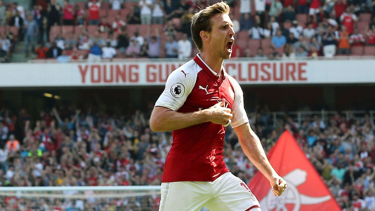 Nacho Monreal celebrates after scoring for Arsenal during their Premier League game against West Ham.