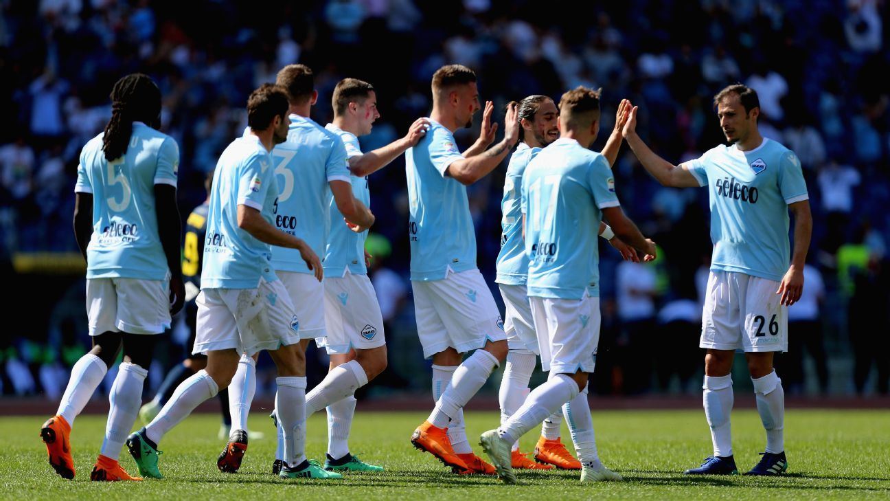 Lazio group celebrate a goal during their Serie A game against Sampdoria.