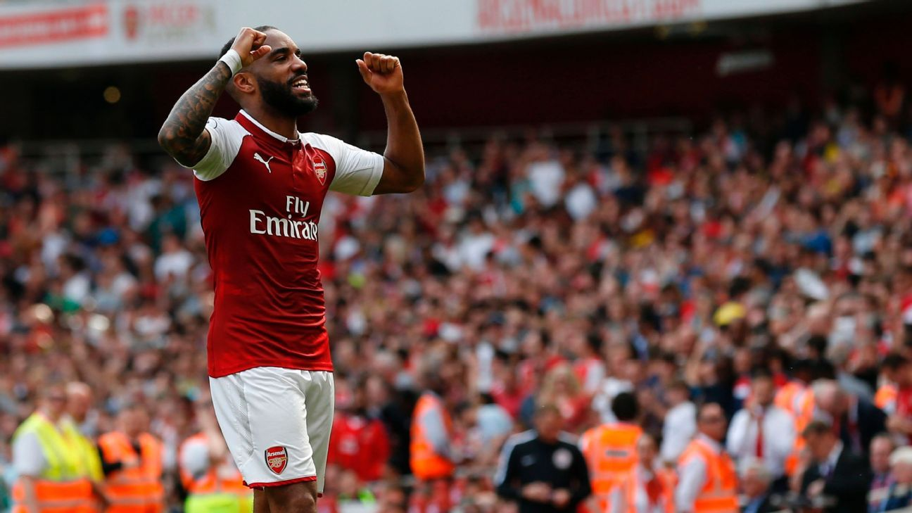 Alexandre Lacazette celebrates scoring a goal for Arsenal during their Premier League win against West Ham.