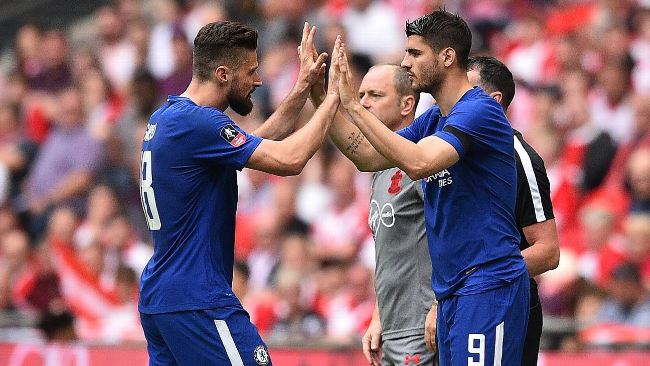 Alvaro Morata, right, replaces Olivier Giroud in Chelsea's FA Cup semifinal win over Southampton.