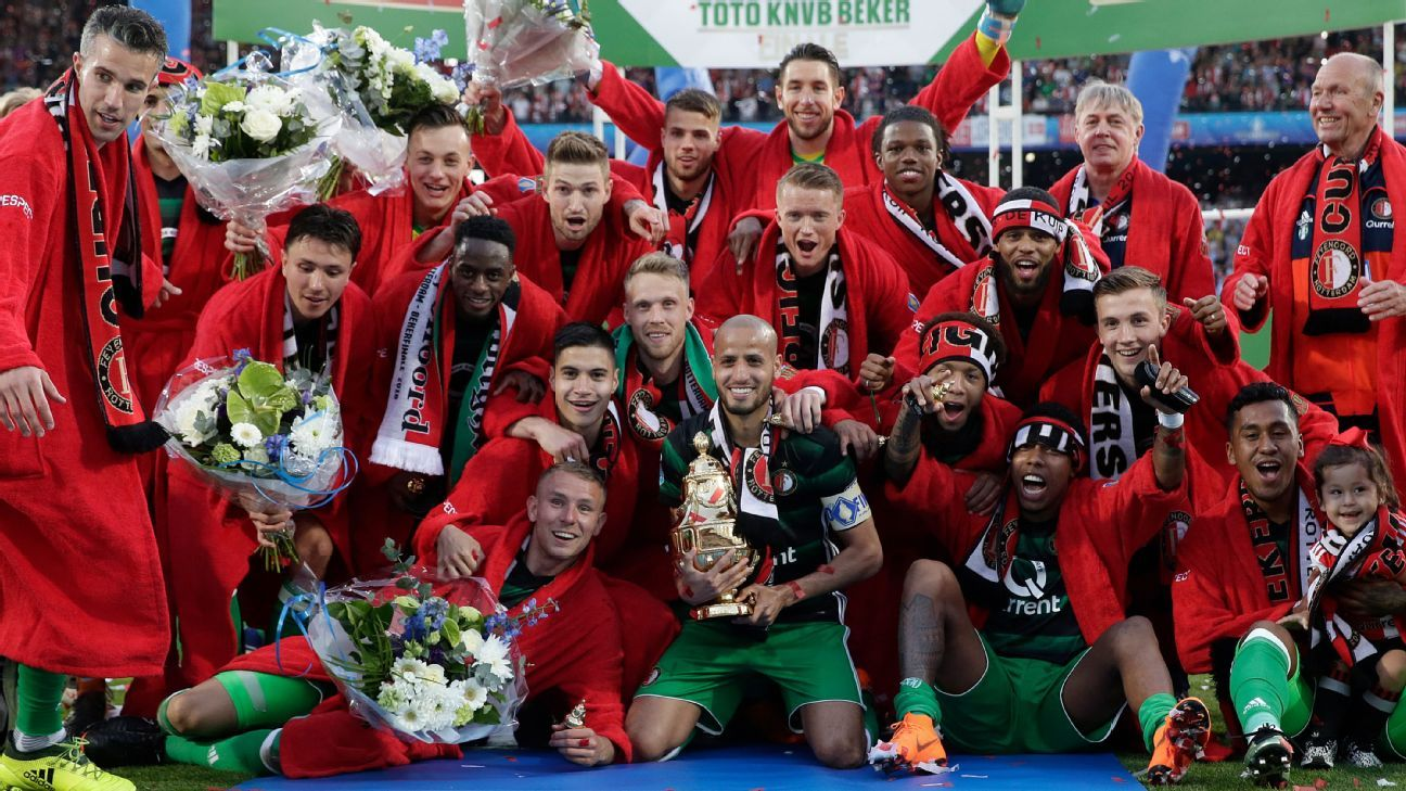 Feyenoord players celebrate after winning the KNVB Beker.