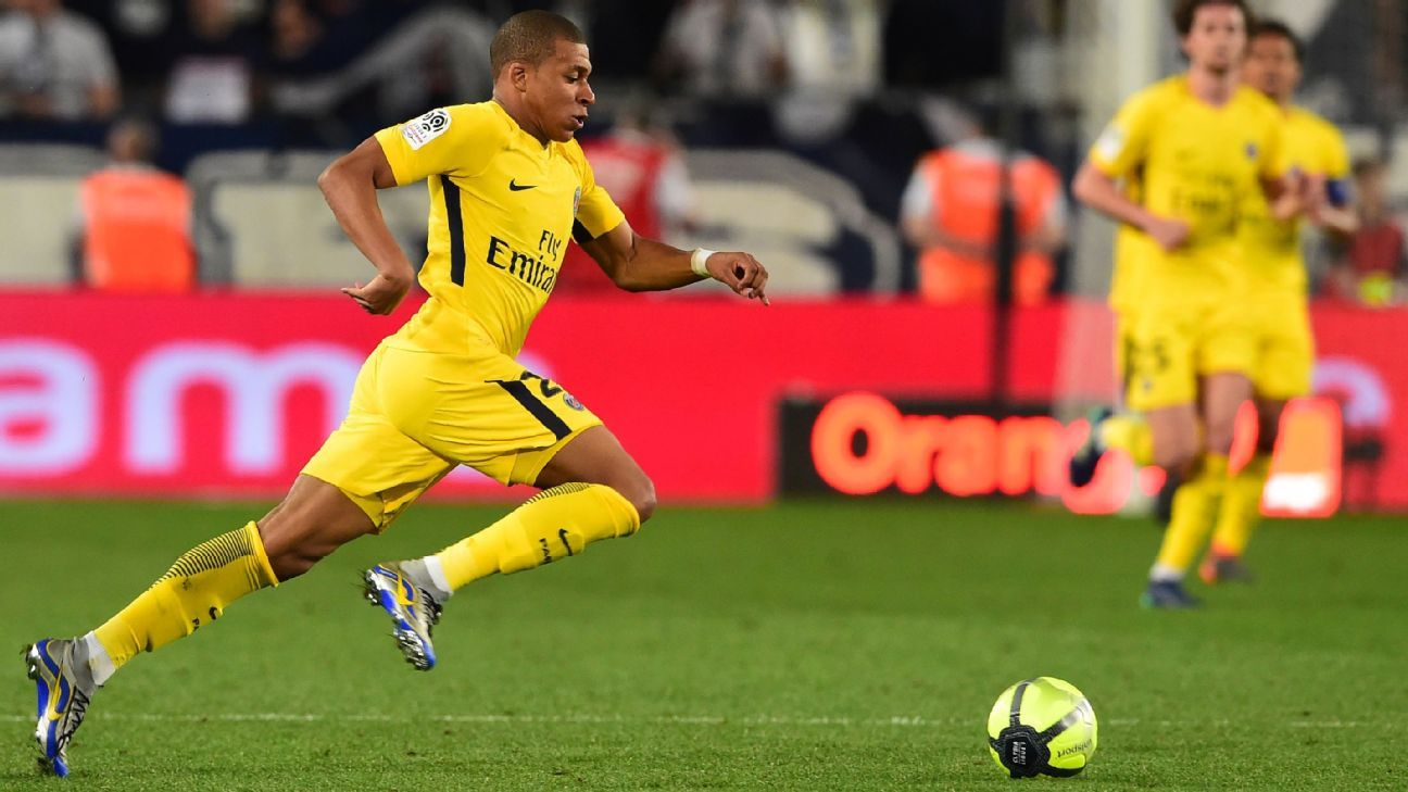 Kylian Mbappe chases down the ball in PSG's Ligue 1 win against Bordeaux on Sunday.