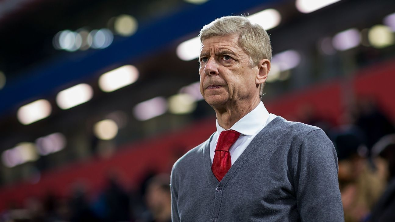 Arsene Wenger looks on against West Ham after announcing he will be stepping down at year's end.
