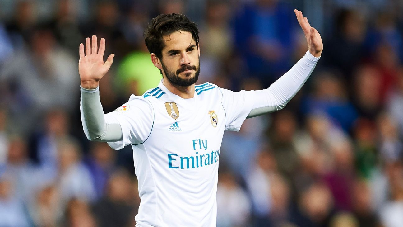 Isco celebrates during Real Madrid's win at Malaga.