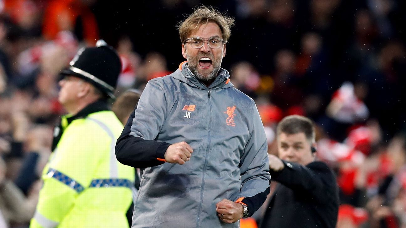 Liverpool manager Jurgen Klopp celebrates his side's first goal of the game against Roma scored by Mohamed Salah.