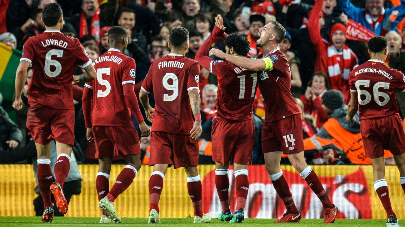Liverpool players celebrate after a Mohamed Salah goal against Roma in the Champions League.