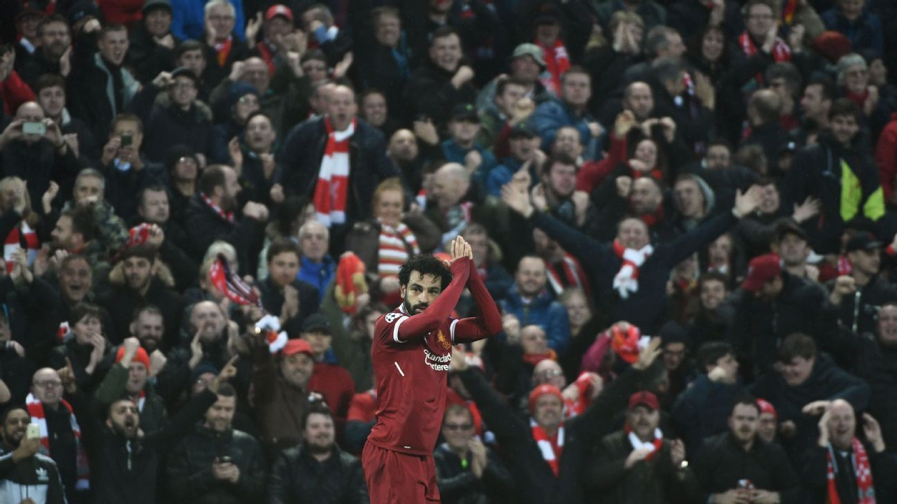 Liverpool's Mohamed Salah in front of fans during match vs Roma at Anfield