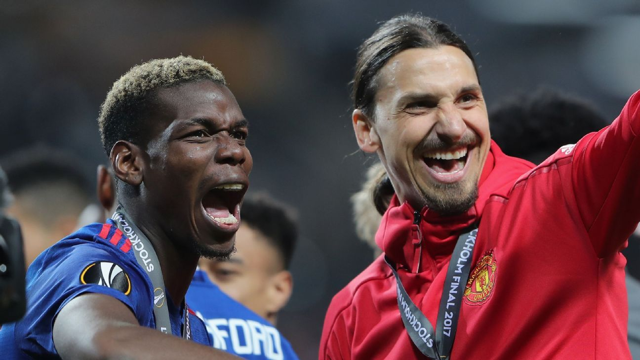 Paul Pogba and Zlatan Ibrahimovic celebrate Manchester United's 2017 Europa League final win