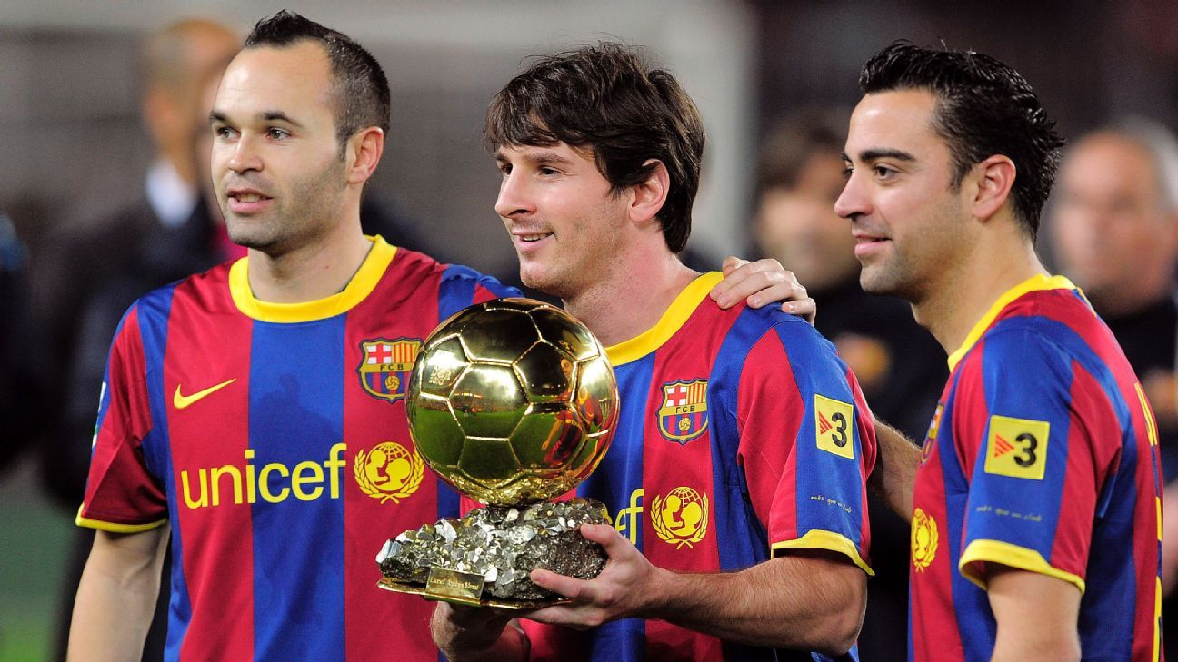 Barcelona's Andres Iniesta, Lionel Messi, Xavi Hernandez with 2010 Ballon d'Or