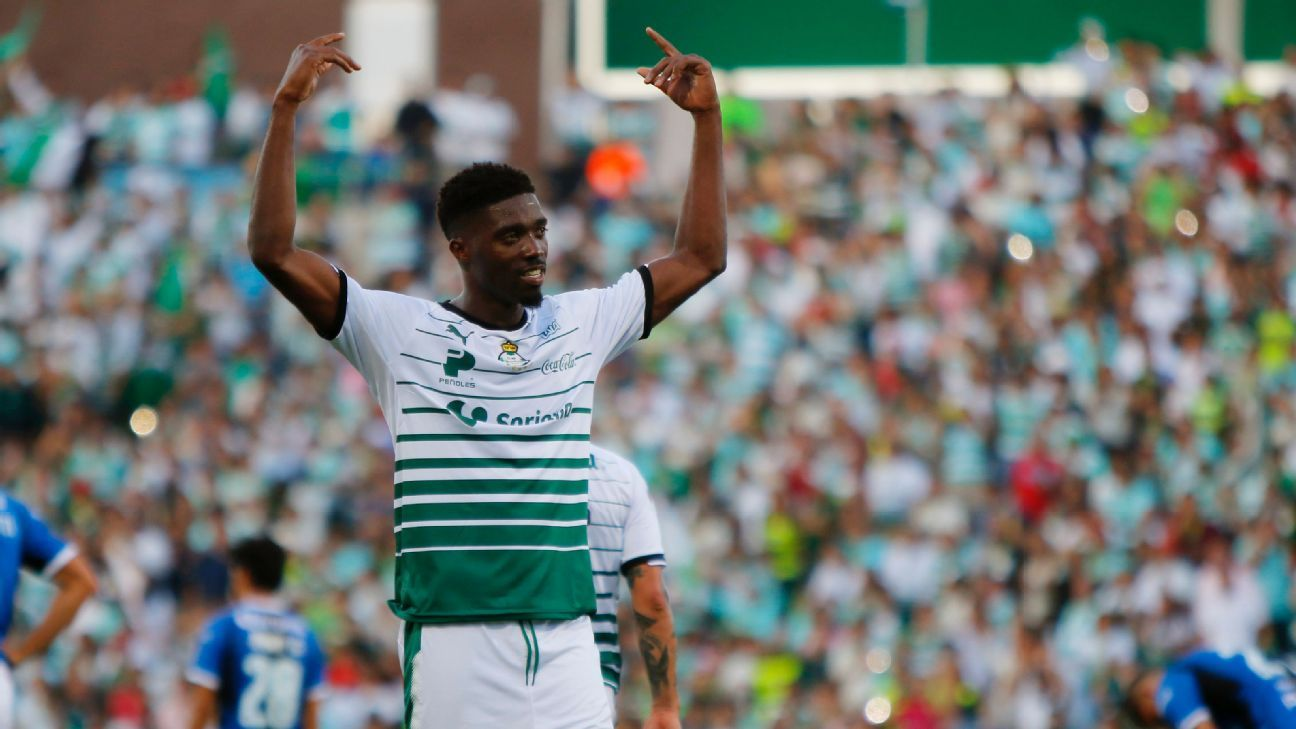 Djaniny celebrates scoring during the Liga MX match between Santos Laguna and Queretaro.
