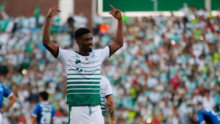 Djaniny celebrates scoring during the Liga MX match between Santos Laguna and Queretaro.