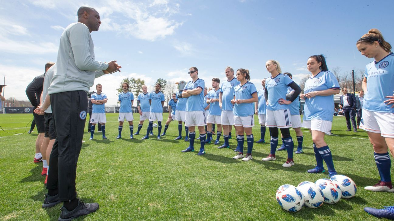 Patrick Vieira directs media during a training session at the opening of New York City FC's brand-new training facility.