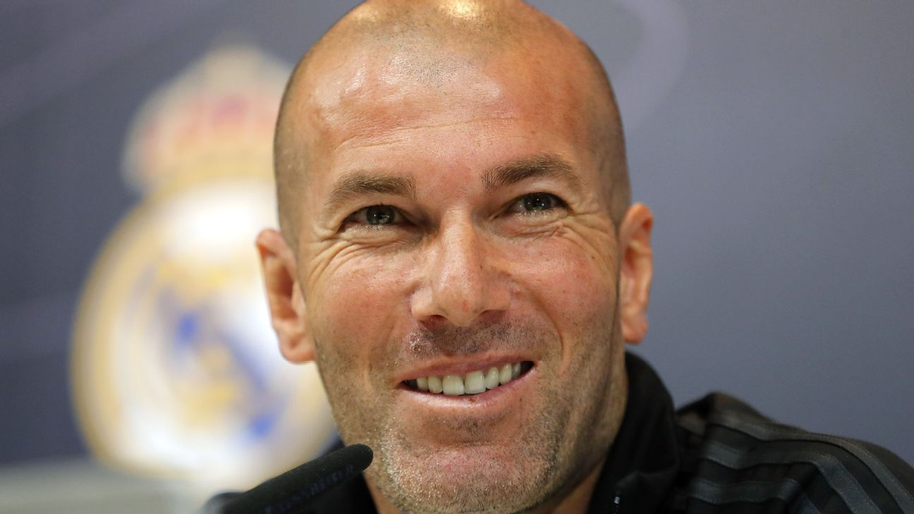 Zinedine Zidane speaks during a Real Madrid news conference.