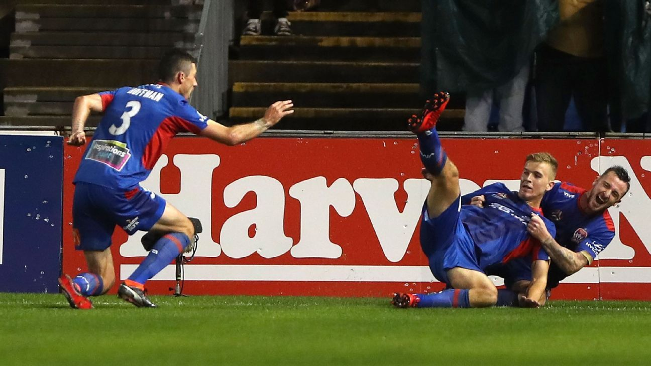 Newcastle Jets celebrate Riley McGree's wonder goal.