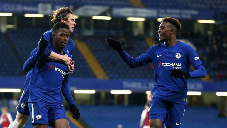 Daishawn Redan celebrates after scoring Chelsea's first goal during the FA Youth Cup final first leg match against Arsenal.