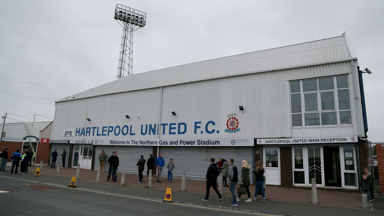 A general view of Hartlepool's Victoria Park stadium.