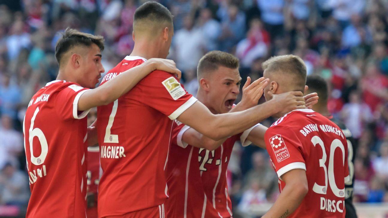 Bayern Munich celebrate Niklas Dorsch's goal.