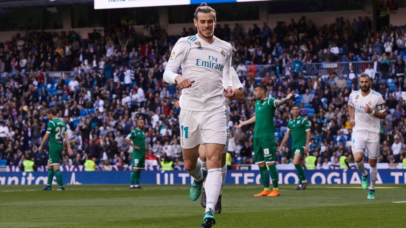 Gareth Bale celebrates after opening the scoring.