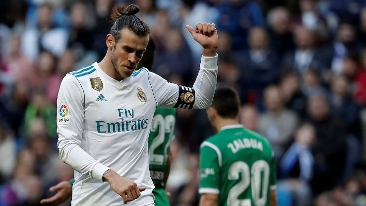 Gareth Bale celebrates during Real Madrid's win over Leganes.