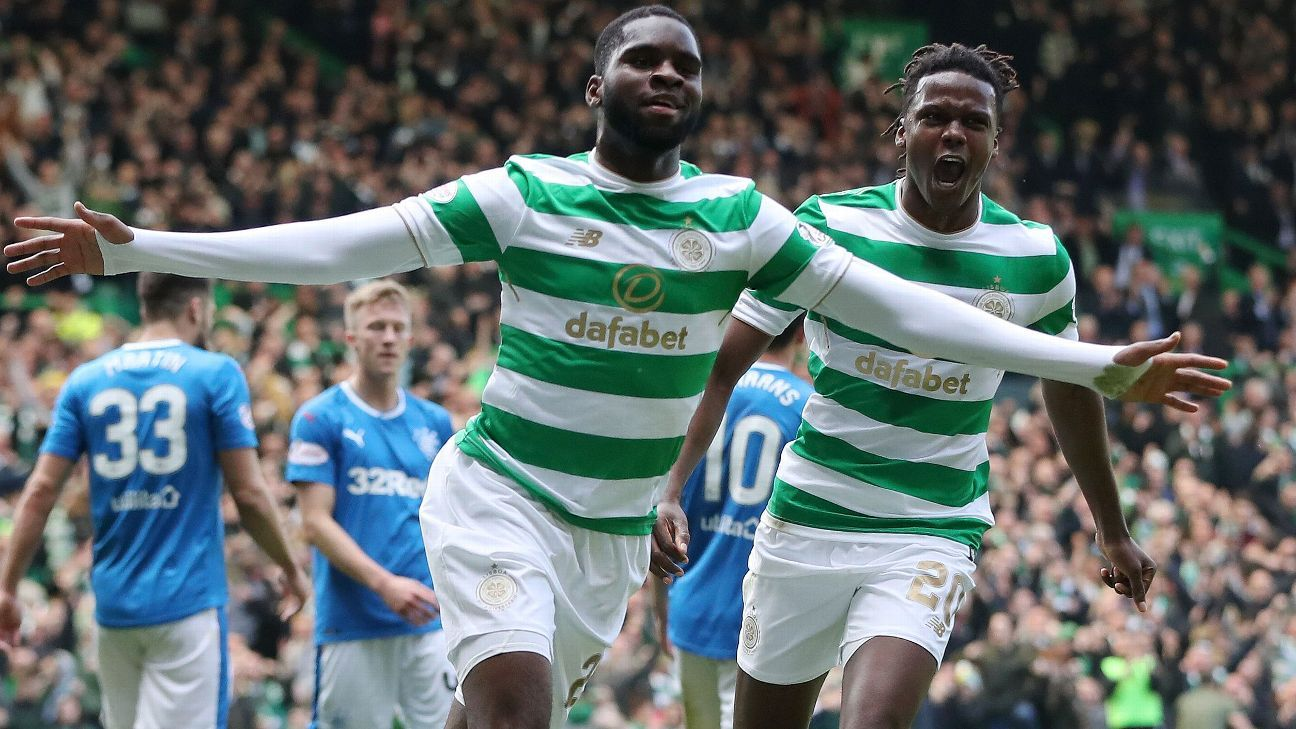 Odsonne Edouard celebrates after putting Celtic in front against Rangers.