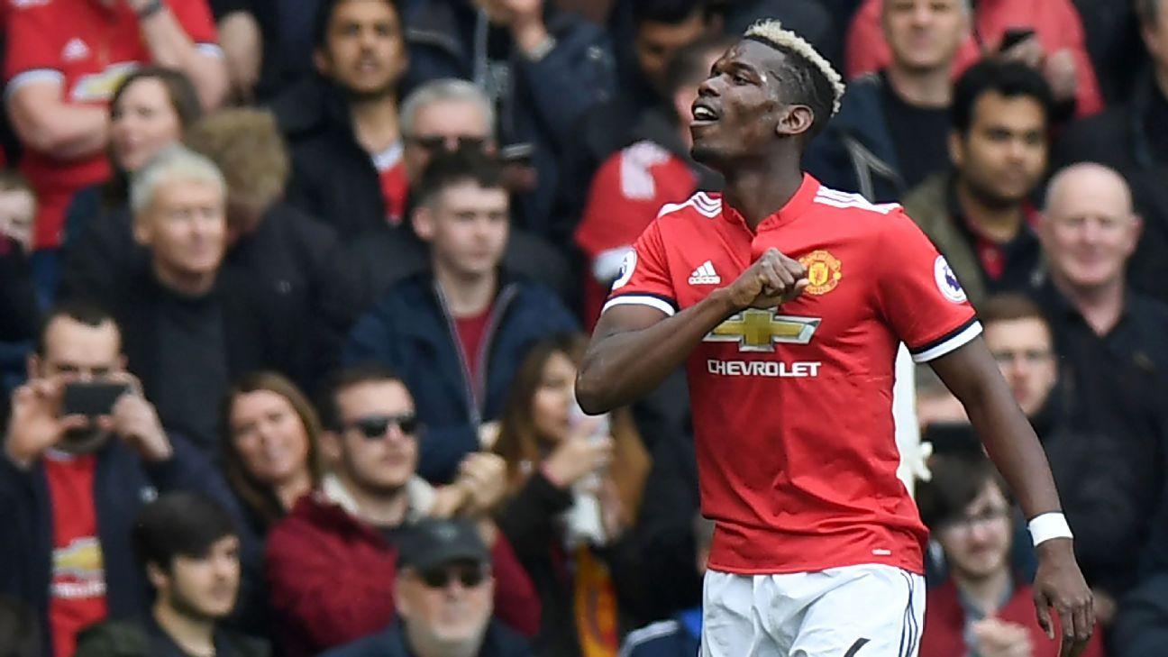 Paul Pogba scored Manchester United's opener against Arsenal.