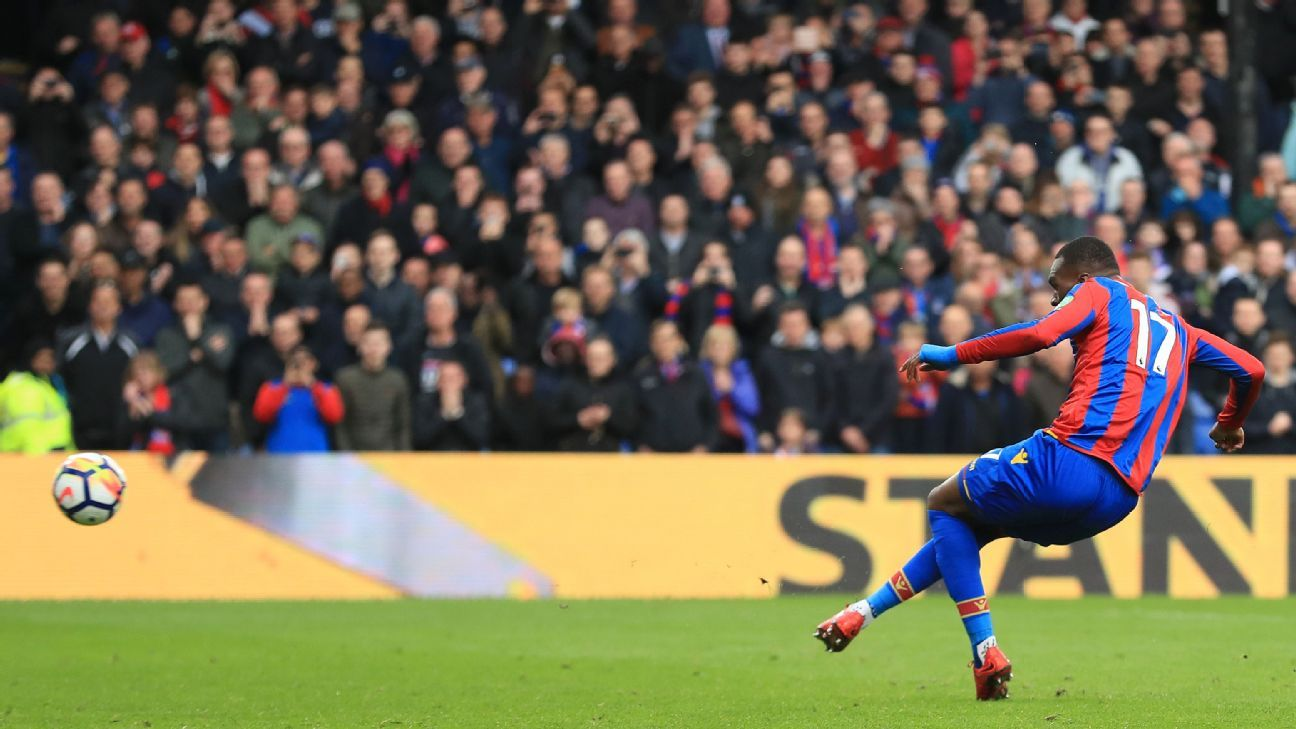 Christian Benteke scores for Crystal Palace in the Premier League win against Leicester.