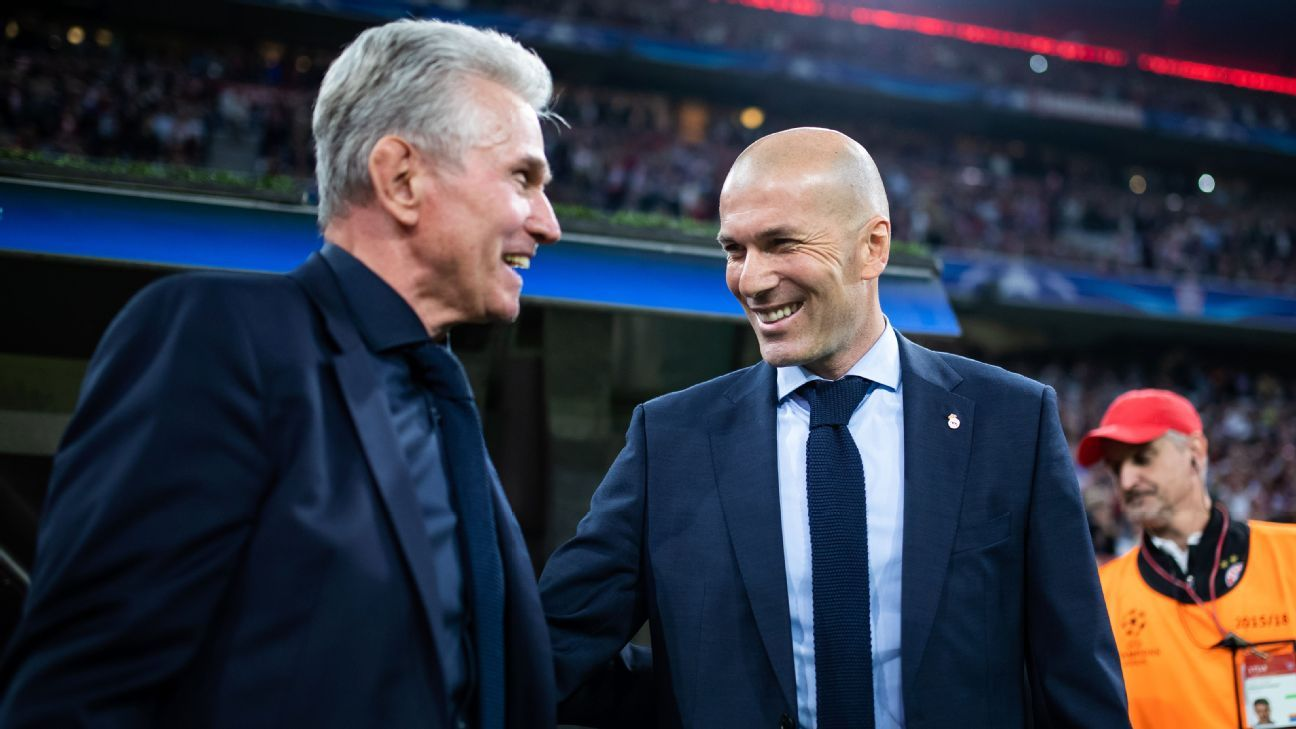 Jupp Heynckes and Zinedine Zidane meet before the Champions League semifinal between Bayern Munich and Real Madrid.