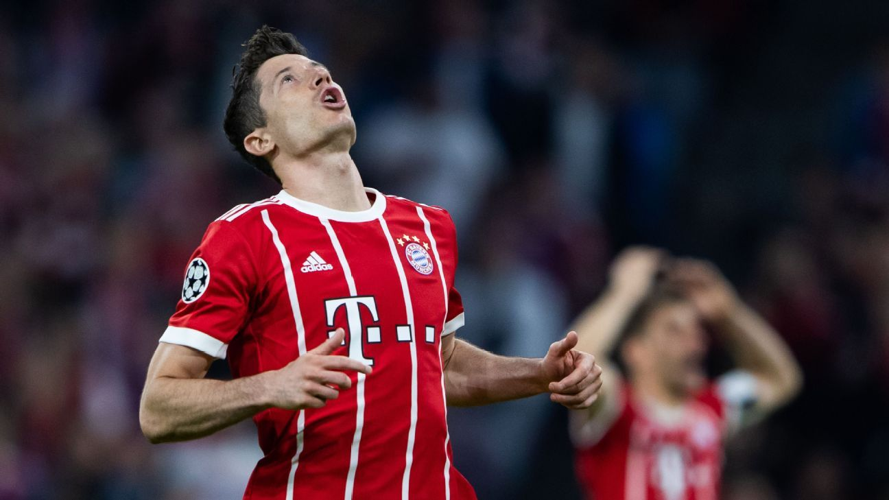 Robert Lewandowski reacts during Bayern Munich's Champions League defeat to Real Madrid.