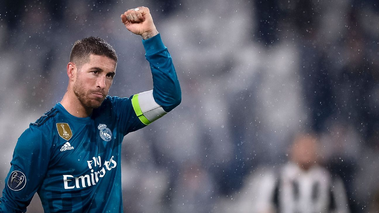 Sergio Ramos celebrates Real Madrid's win over Juventus in the Champions League