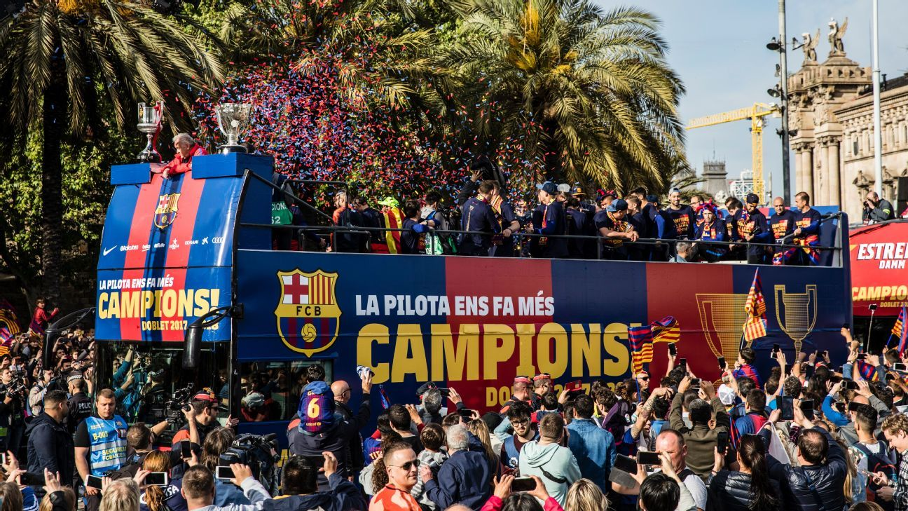 Barcelona celebrated their double with a victory parade.