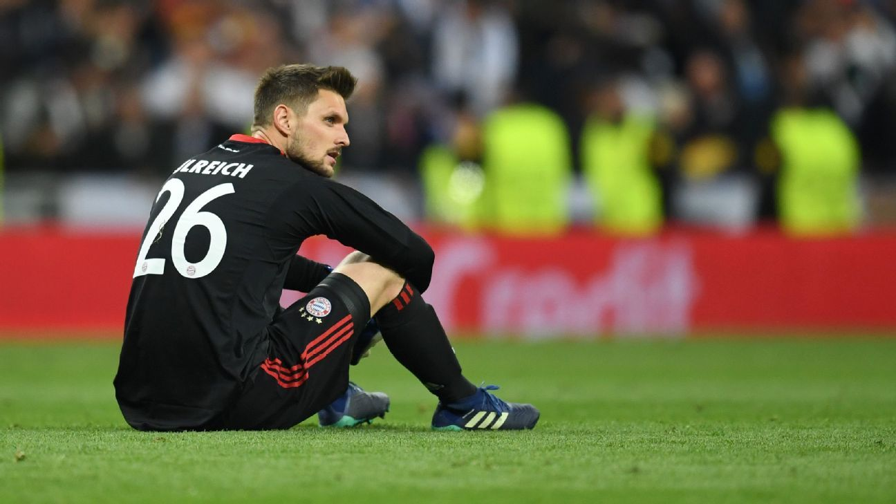 Sven Ulreich looks on after Bayern Munich were eliminated from the Champions League in the semifinals.