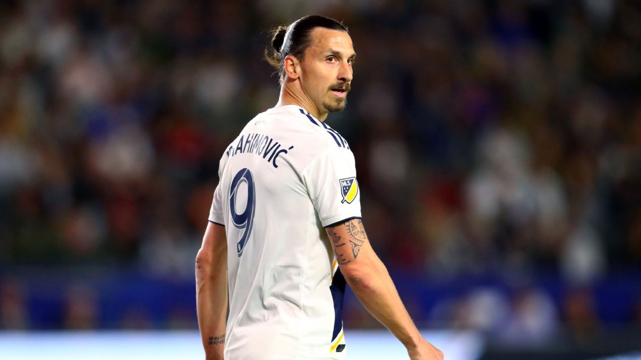 Zlatan Ibrahimovic looks on during the LA Galaxy's defeat to the New York Red Bulls.