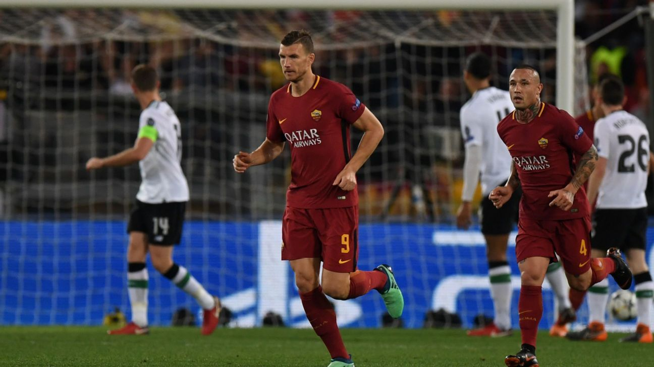 Edin Dzeko led Roma's attempted fightback in the semifinal against Liverpool.