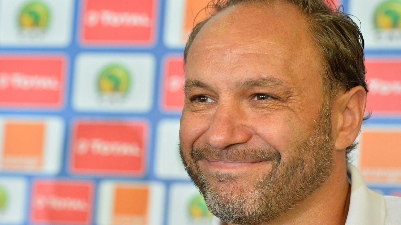 Kenya coach Sebastien Migne speaks to the press