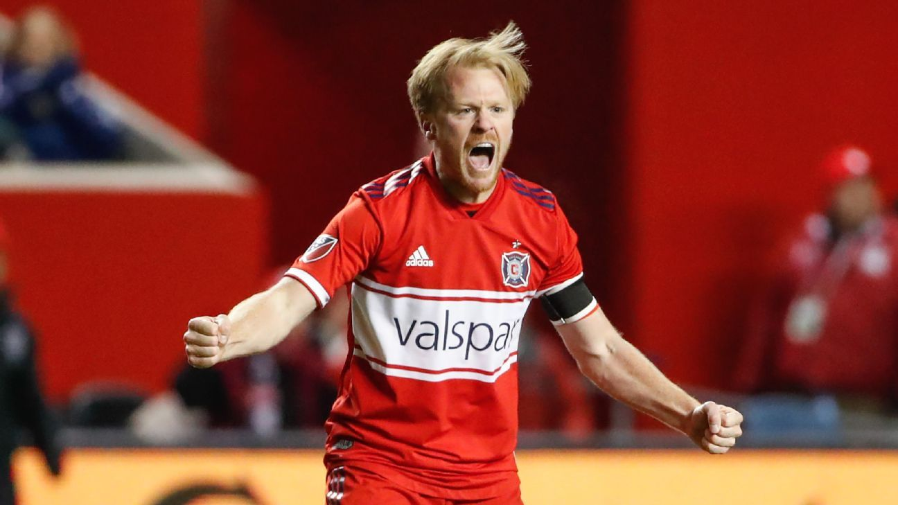 Dax McCarty reacts during the Chicago Fire's match against Sporting Kansas City.