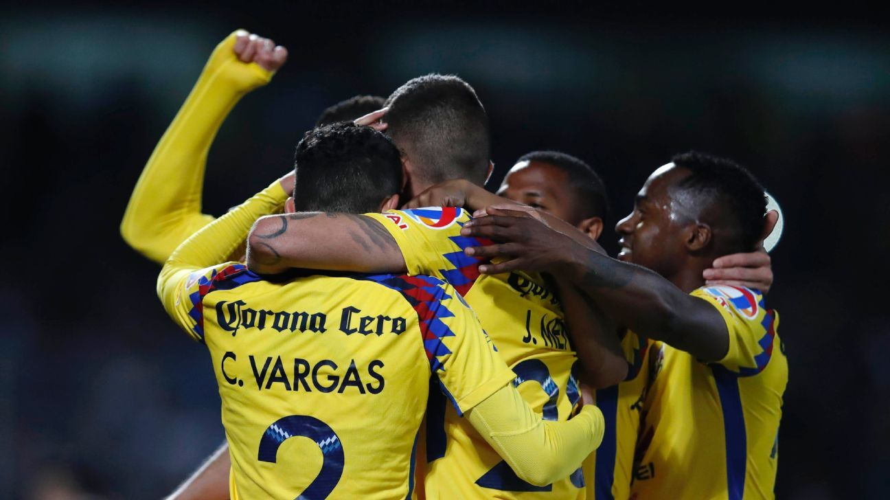 Club America celebrate one of their four goals in a 4-1 first-leg win over Pumas.