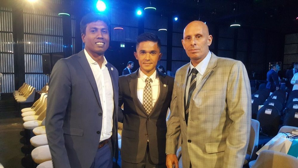 India captain Sunil Chhetri (centre), manager Shanmugam Venkatesh (left) and coach Stephen Constantine (right) at the 2019 AFC Asian Cup draw ceremony in Dubai on Friday.