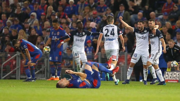 Kosta Barbarouses' ninth-minute goal held up as Melbourne Victory outlasted Newcastle.