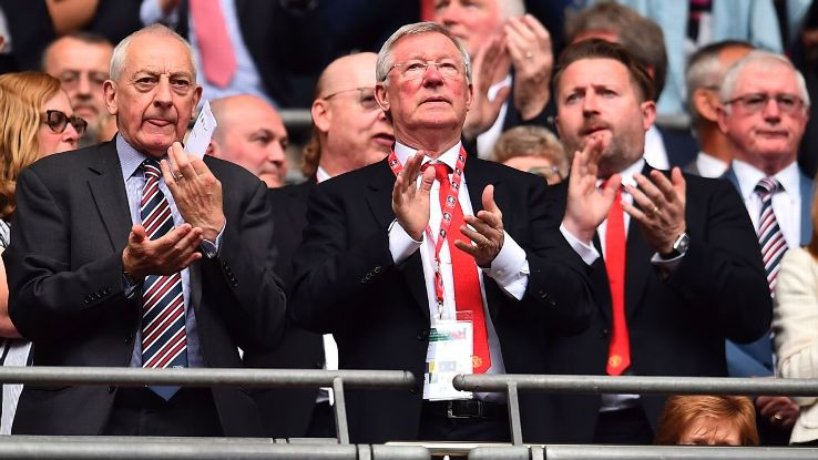 Sir Alex Ferguson, middle, pictured on April 21 at the FA Cup semifinal between Manchester United and Tottenham.