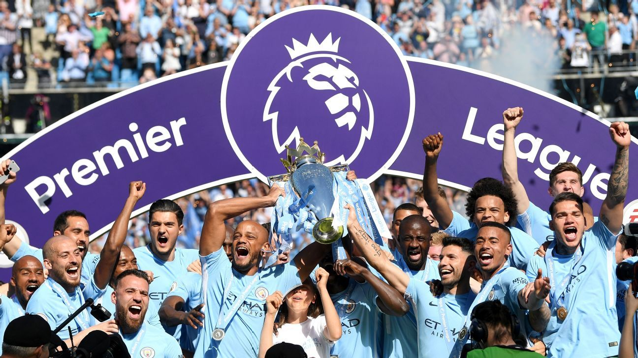 Man City surpassed 100 goals and reached 100 points while running away with the 2017-18 title.
