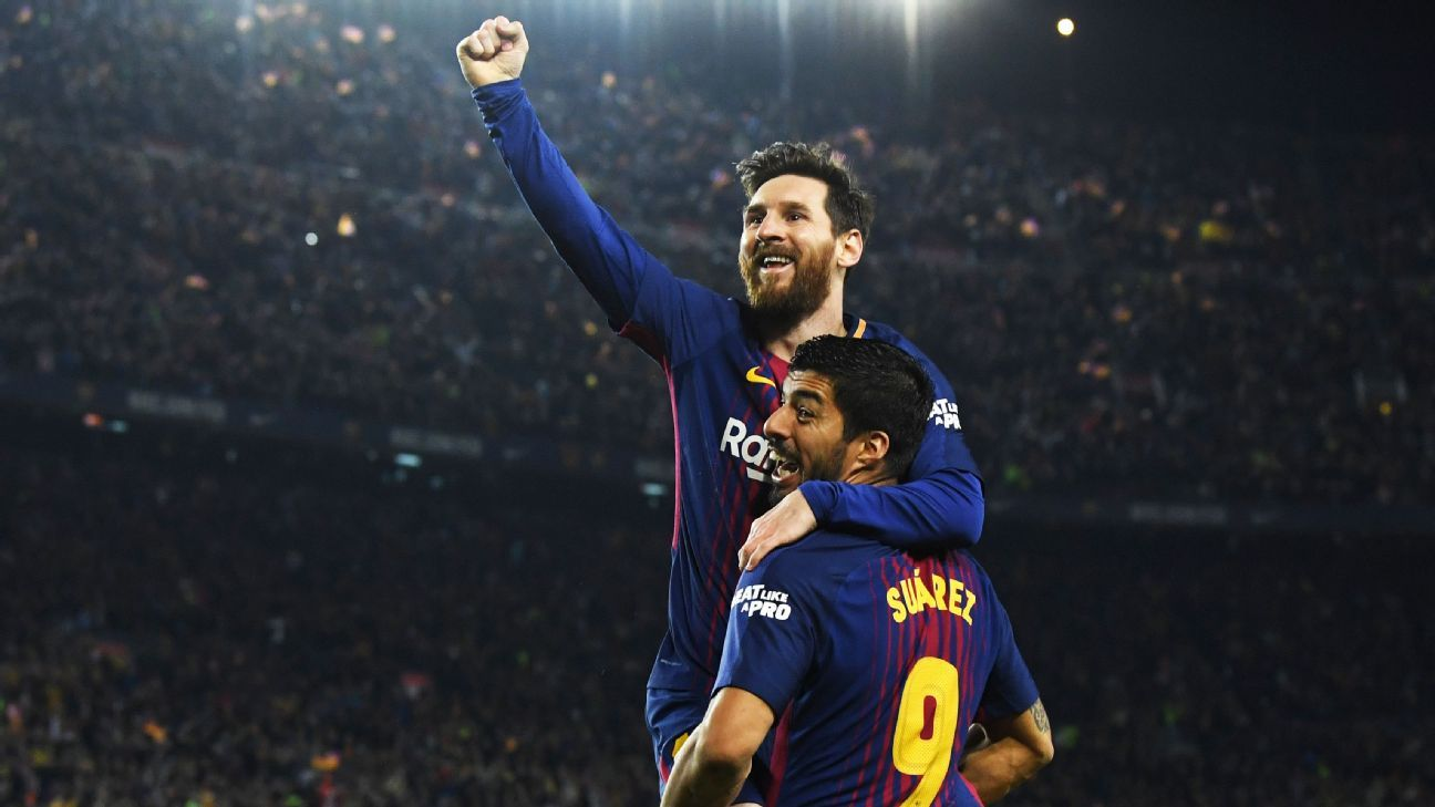 Lionel Messi celebrates after scoring against Barcelona.