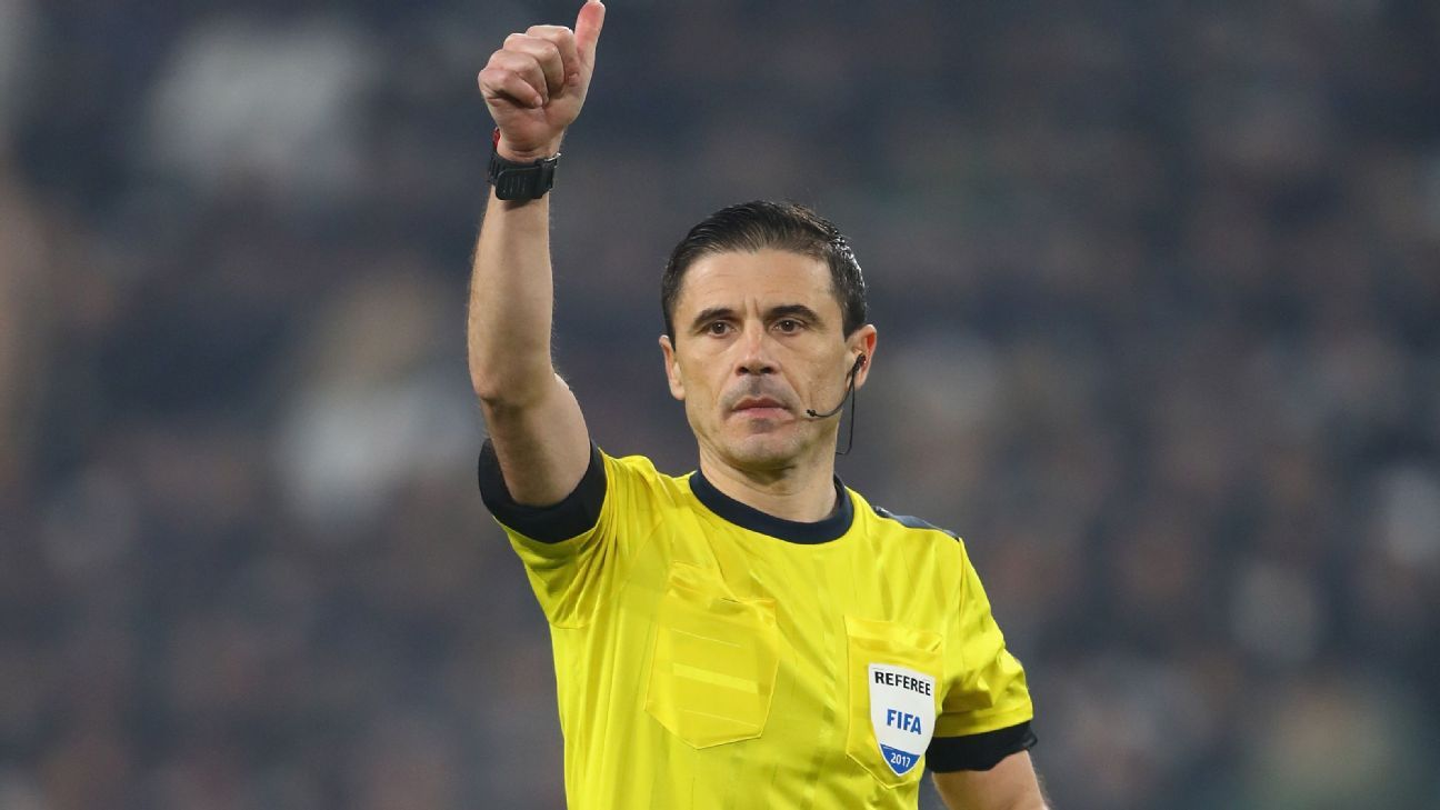 Referee Milorad Mazic takes charge of the Champions League final.
