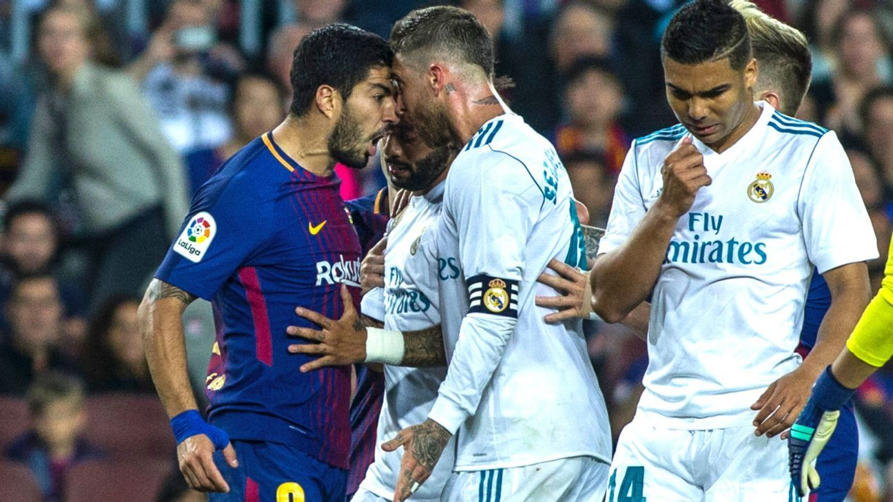 09 Luis Suarez from Uruguay of FC Barcelona arguing with 04 Sergio Ramos from Spain of Real Madrid  during the  La Liga derby football match between FC Barcelona v Real Madrid at Camp Nou Stadium in Spain on May 6 of 2018