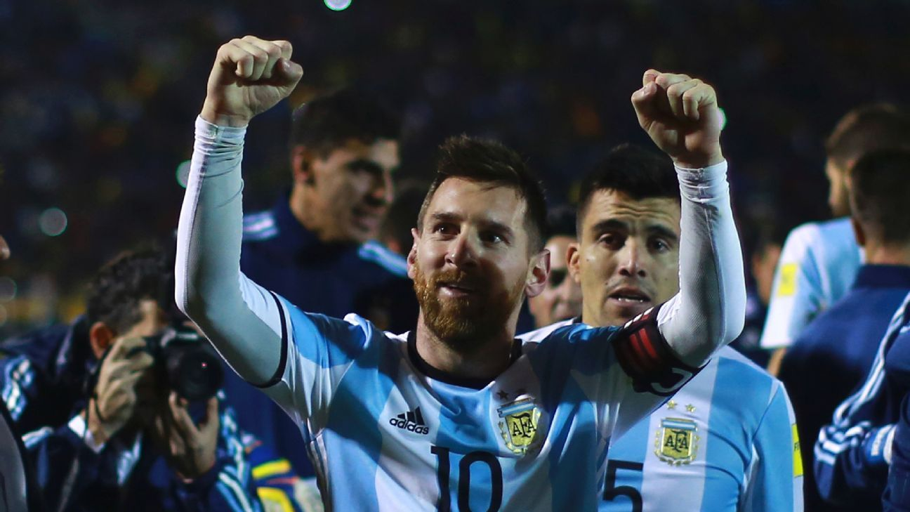 Lionel Messi celebrates after Argentina clinched qualification vs. Ecuador.