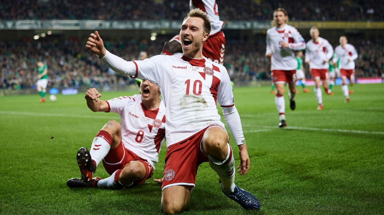 Christian Eriksen's stunning hat trick in Dublin sealed Denmark's place in Russia.