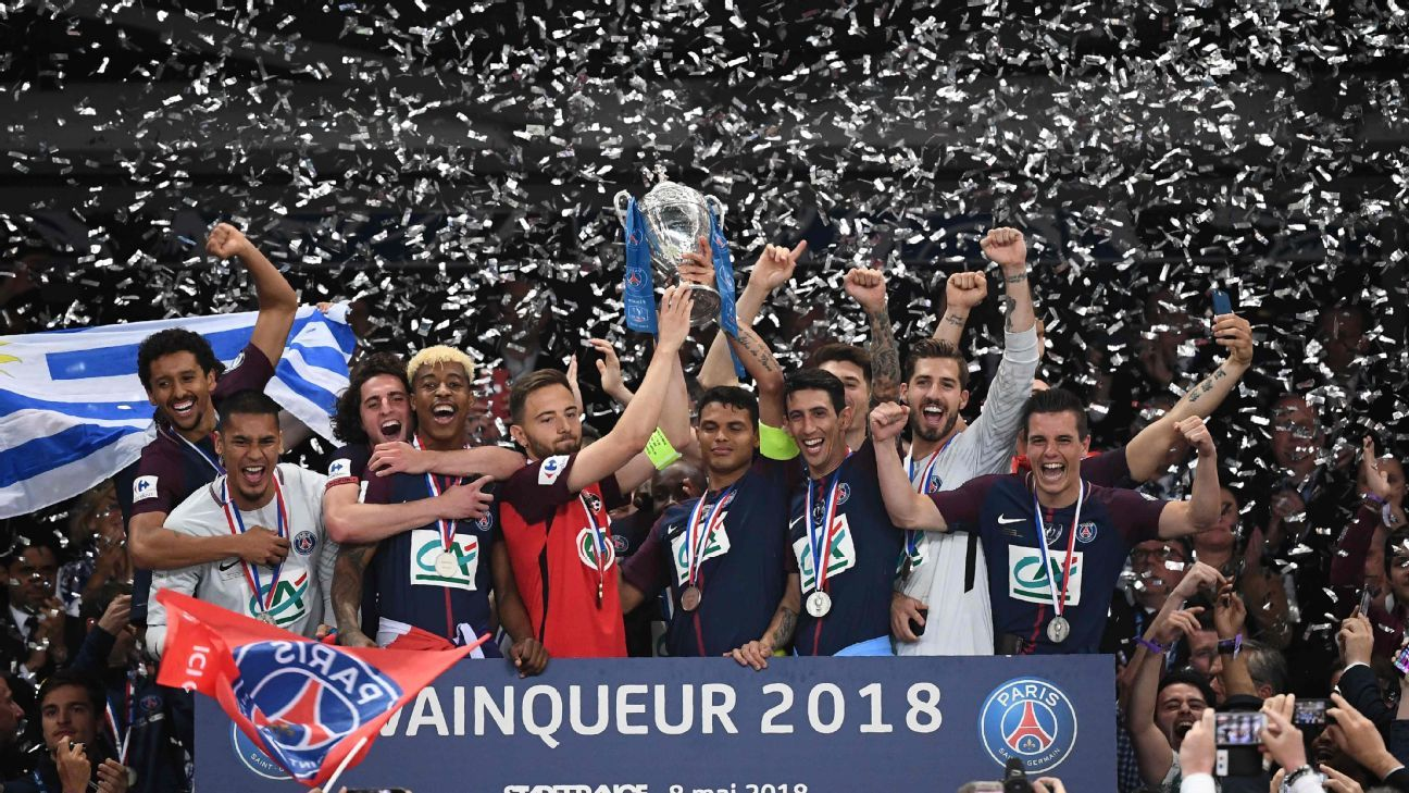 PSG celebrate their fourth straight Coupe de France title.