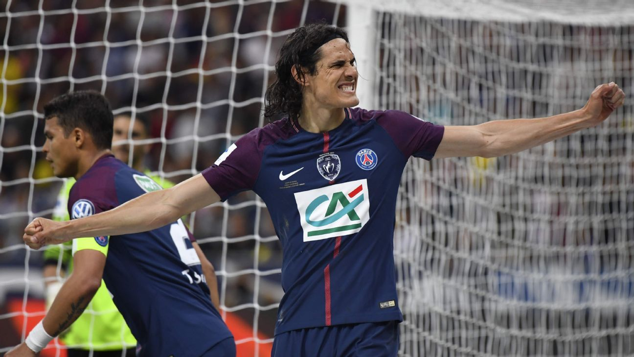 PSG's Edinson Cavani celebrates in the Coupe de France