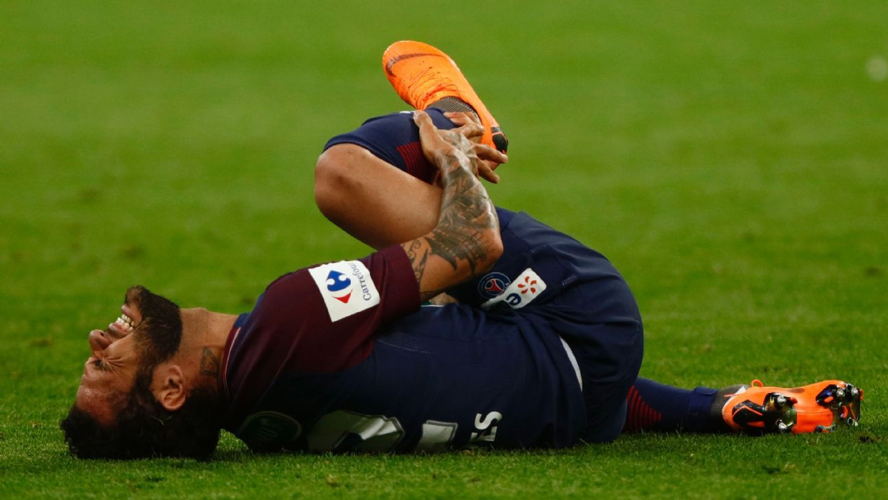 PSG's Dani Alves was injured during the Coupe de France final against Les Herbiers.