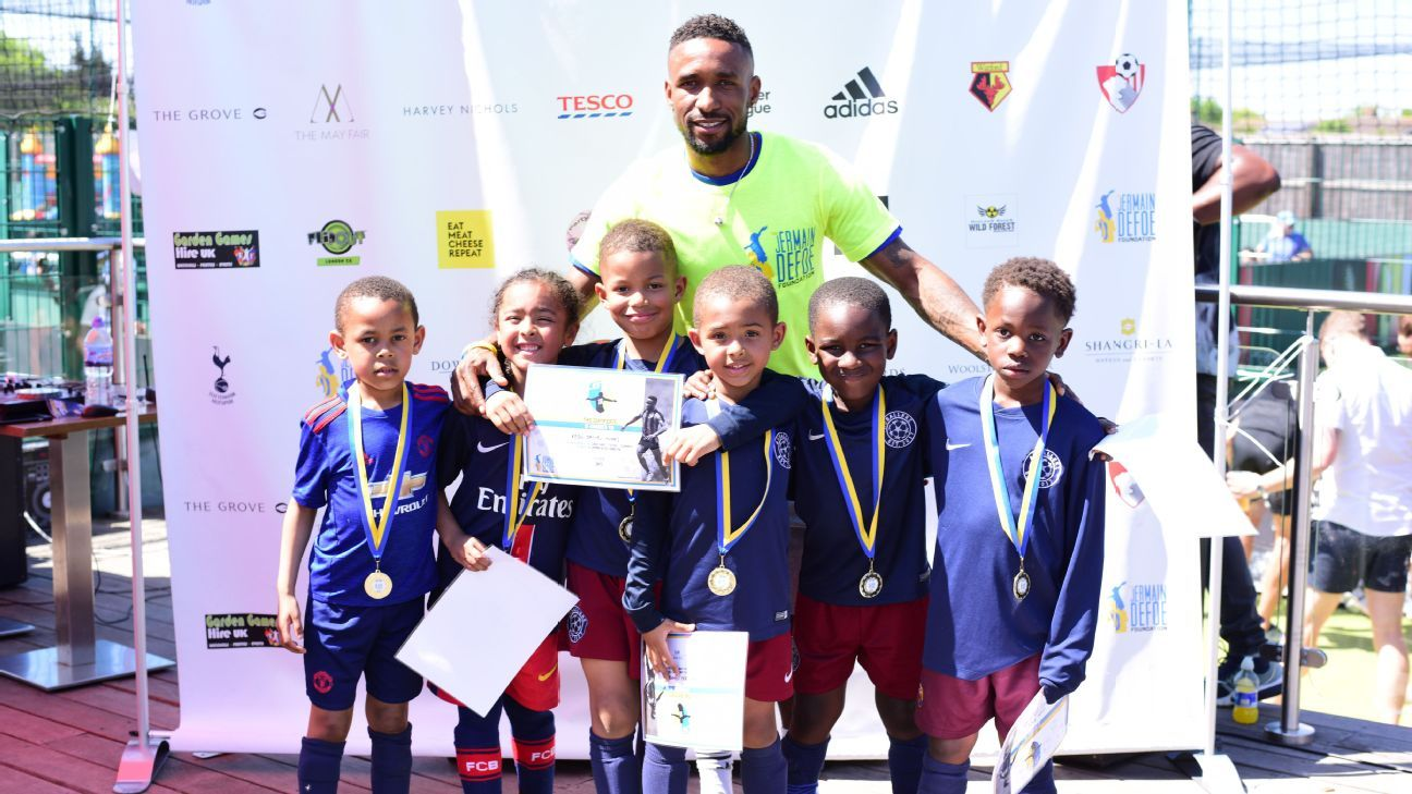 Jermain Defoe at the JDF Cup, a junior charity tournament hosted by The Jermain Defoe Foundation in aid of homeless and vulnerable children.